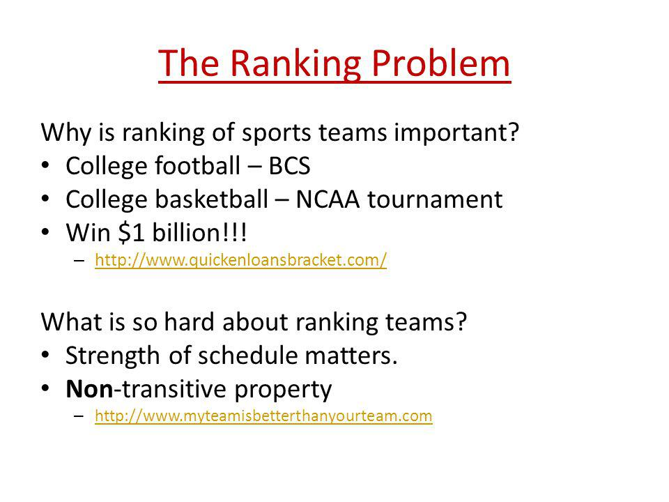 The Ranking Problem Why is ranking of sports teams important