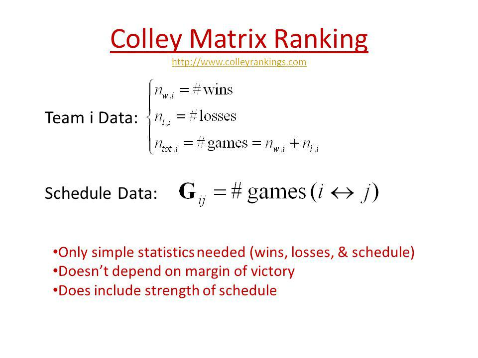 Colley Matrix Ranking http://www.colleyrankings.com