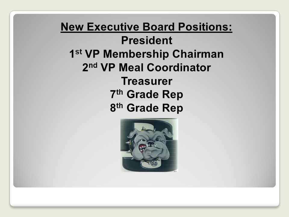 New Executive Board Positions: President 1st VP Membership Chairman