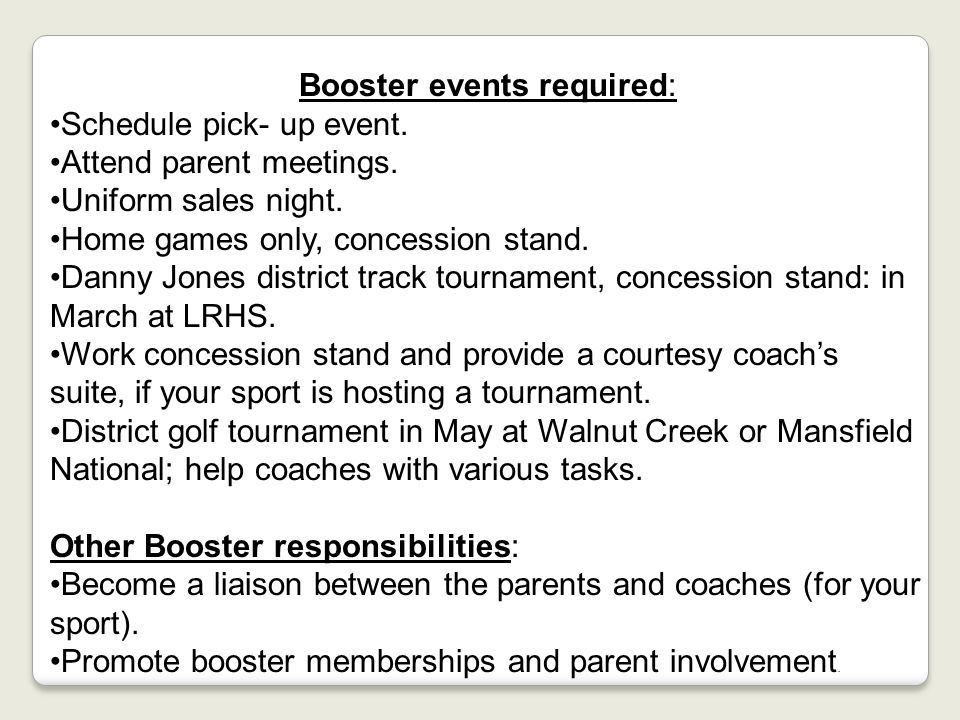 Booster events required: