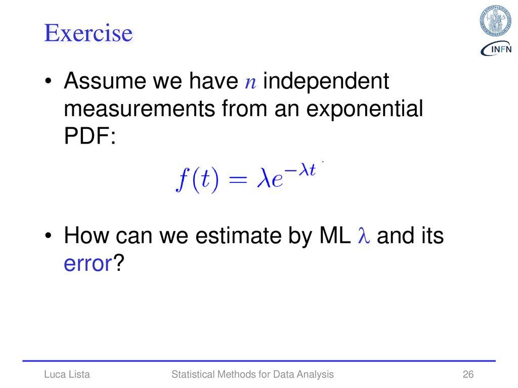 Statistical Methods for Data Analysis parameter estimate - ppt download