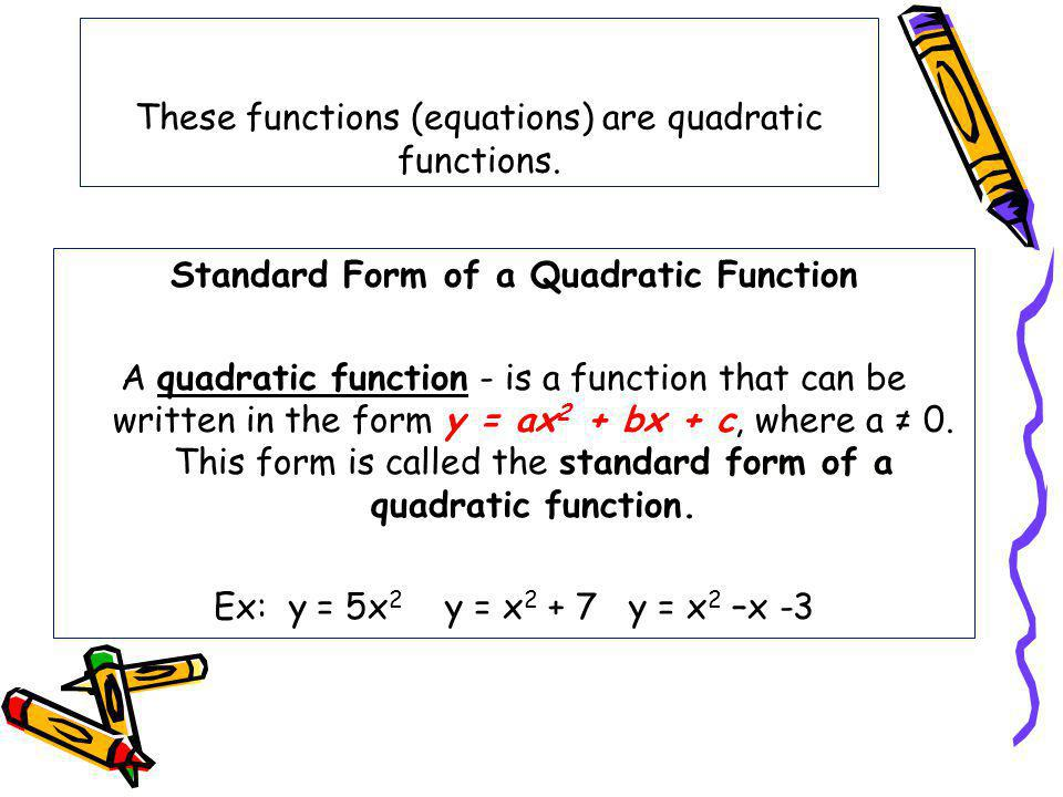 These functions (equations) are quadratic functions.