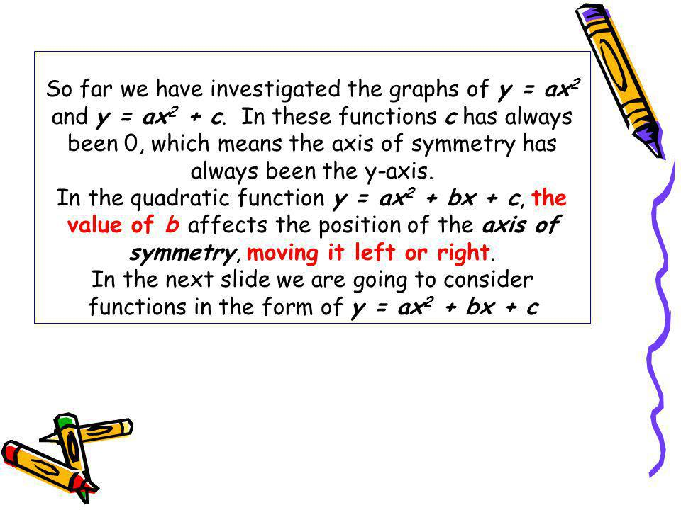 So far we have investigated the graphs of y = ax2 and y = ax2 + c