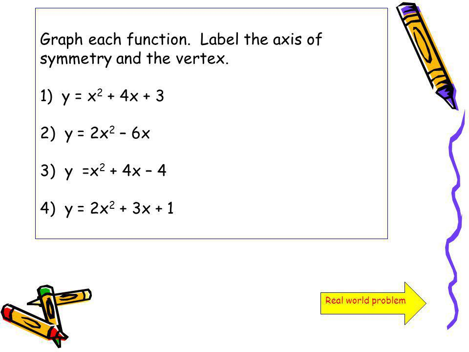 Graph each function. Label the axis of symmetry and the vertex