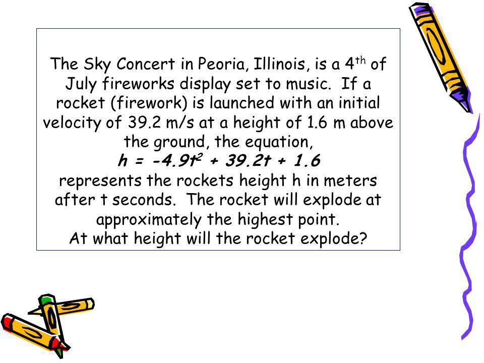The Sky Concert in Peoria, Illinois, is a 4th of July fireworks display set to music.