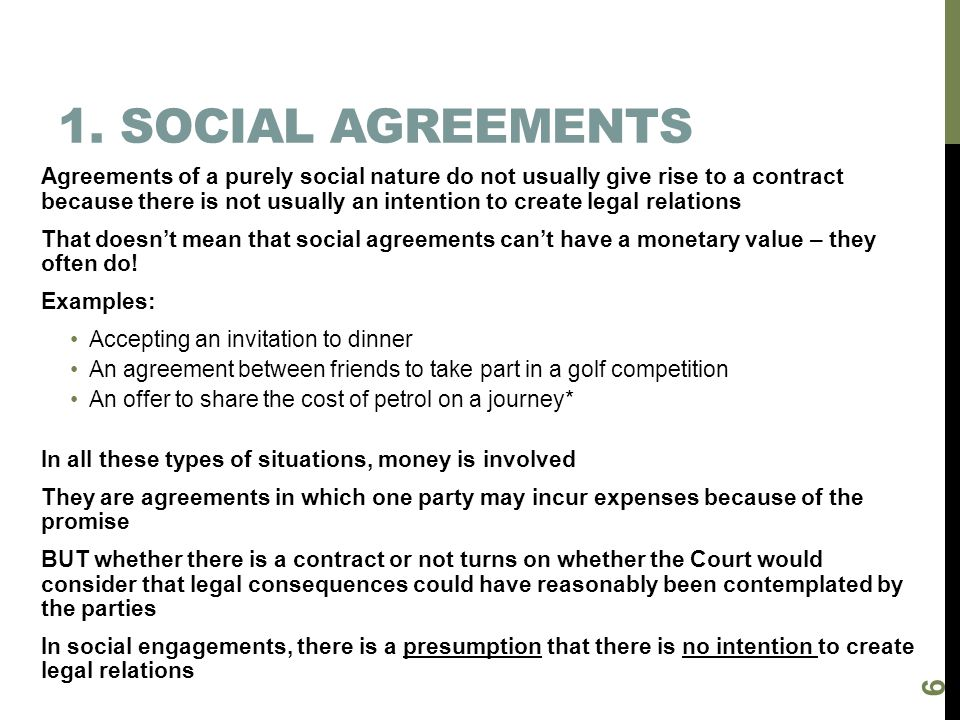 1. Social agreements