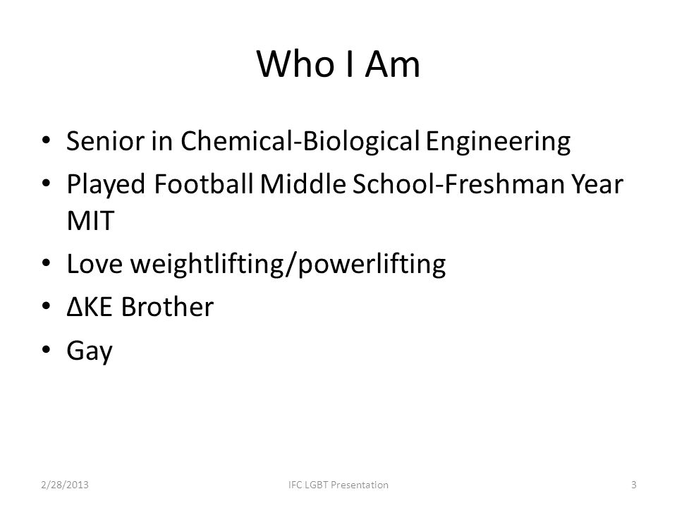 Who I Am Senior in Chemical-Biological Engineering