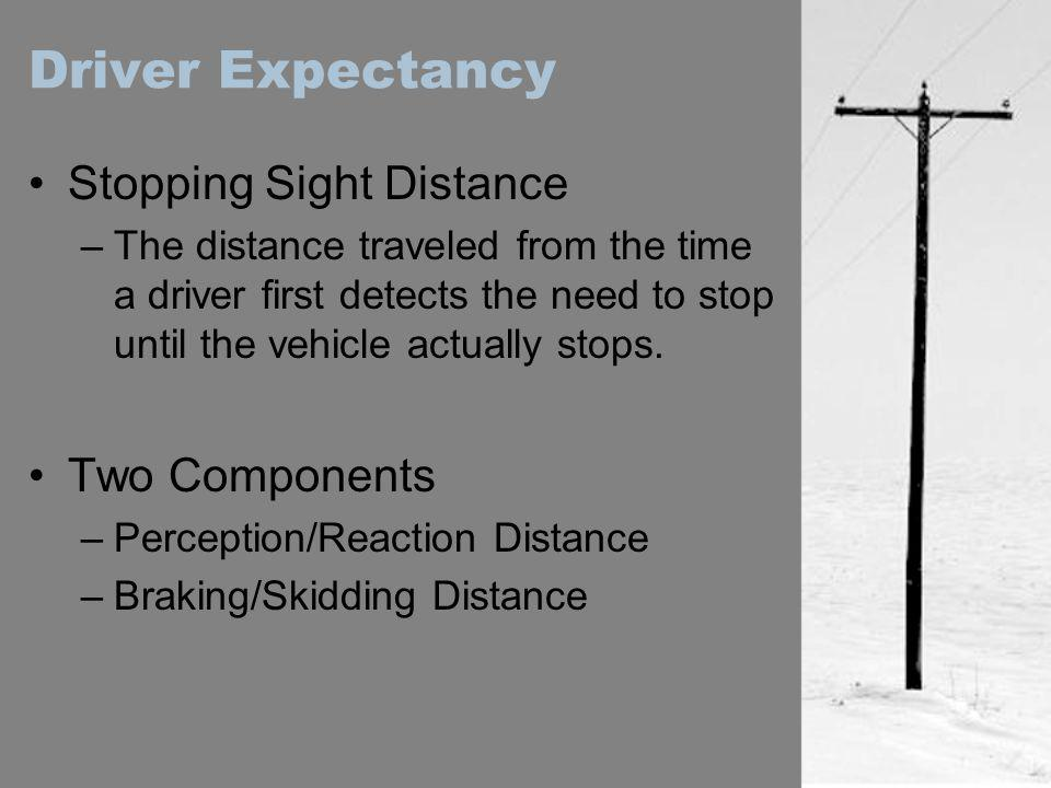 Driver Expectancy Stopping Sight Distance Two Components