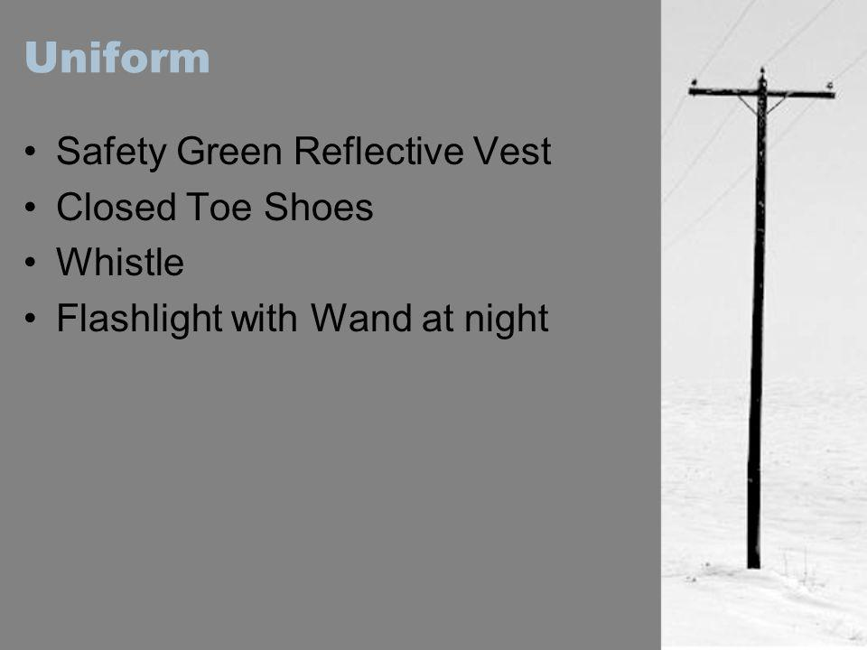 Uniform Safety Green Reflective Vest Closed Toe Shoes Whistle