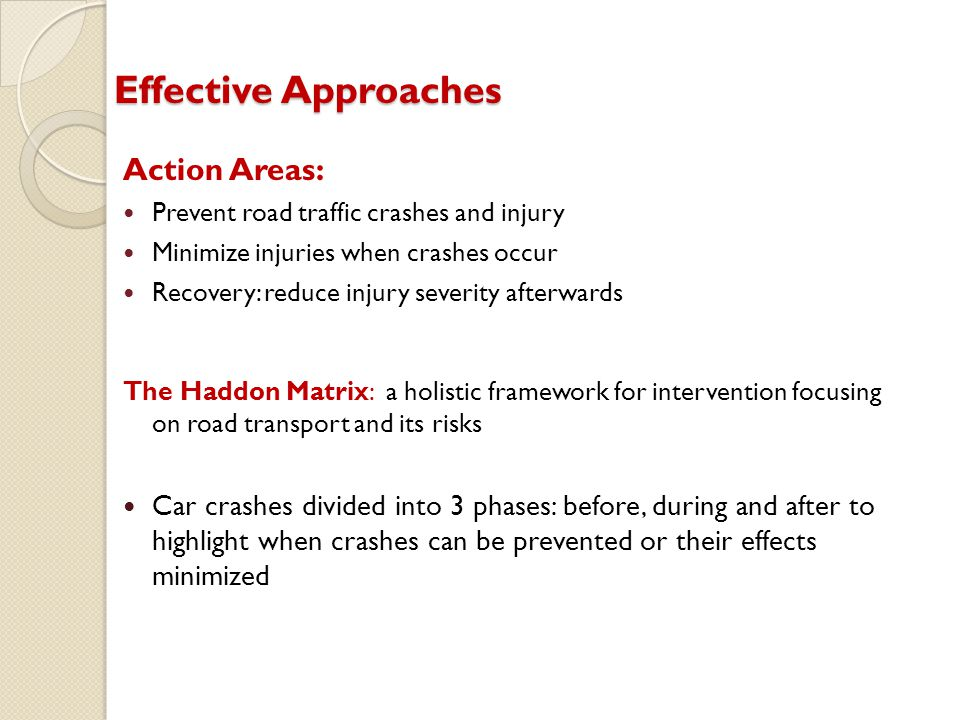 Effective Approaches Action Areas: