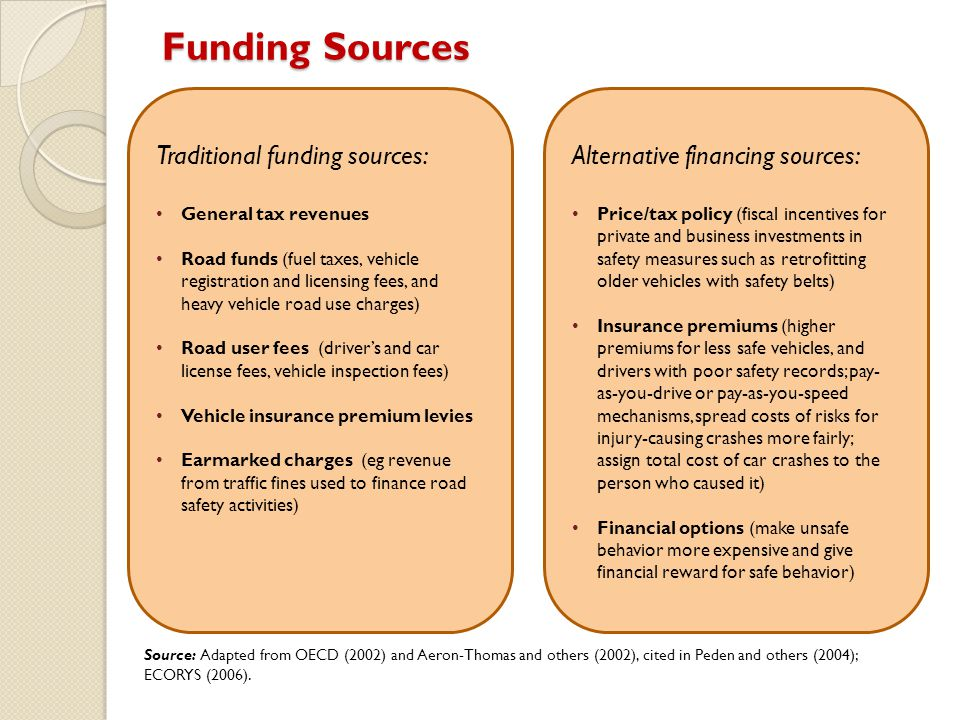 Funding Sources Traditional funding sources: