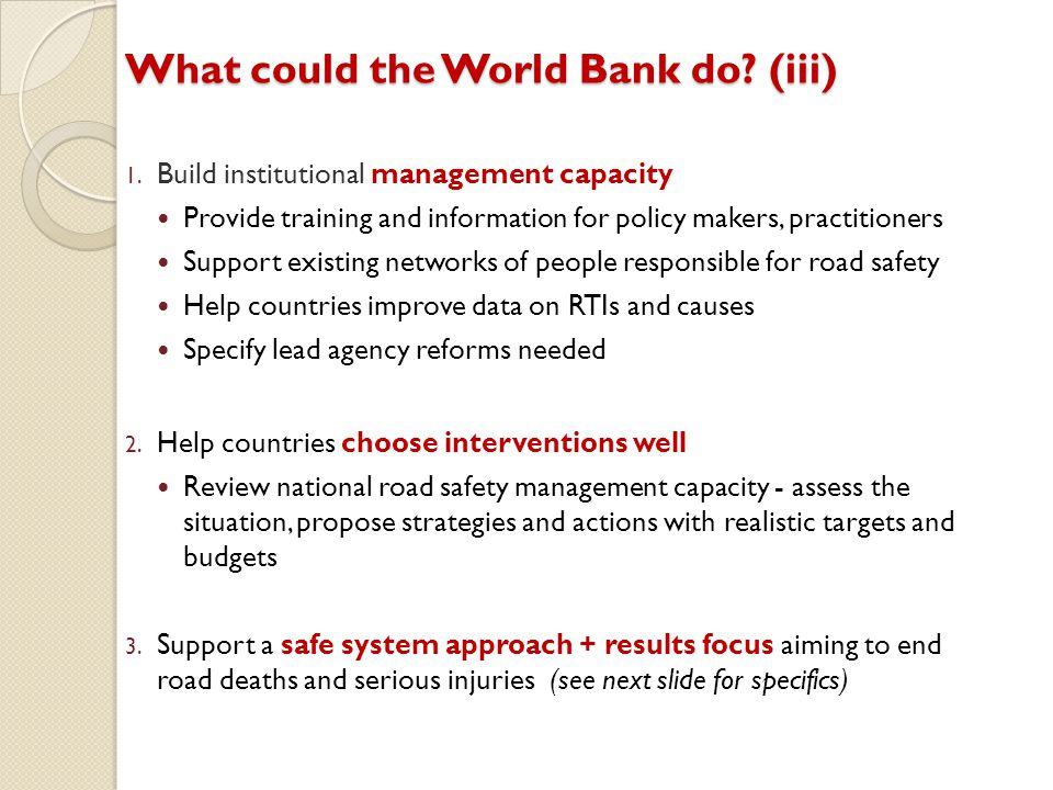 What could the World Bank do (iii)