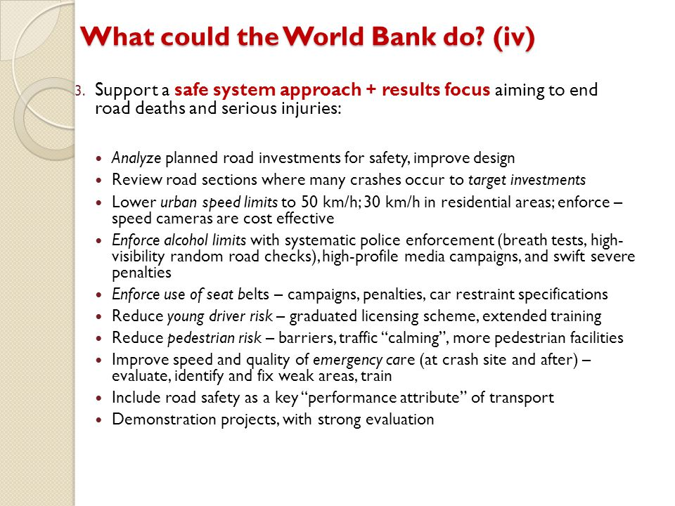 What could the World Bank do (iv)