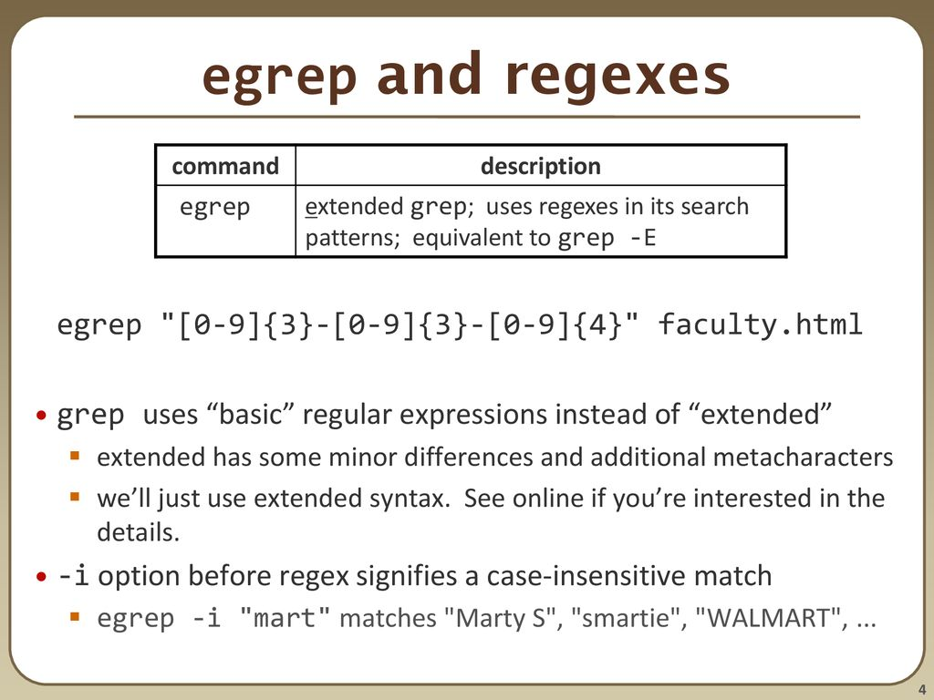 Regular expressions, egrep, and sed - ppt download