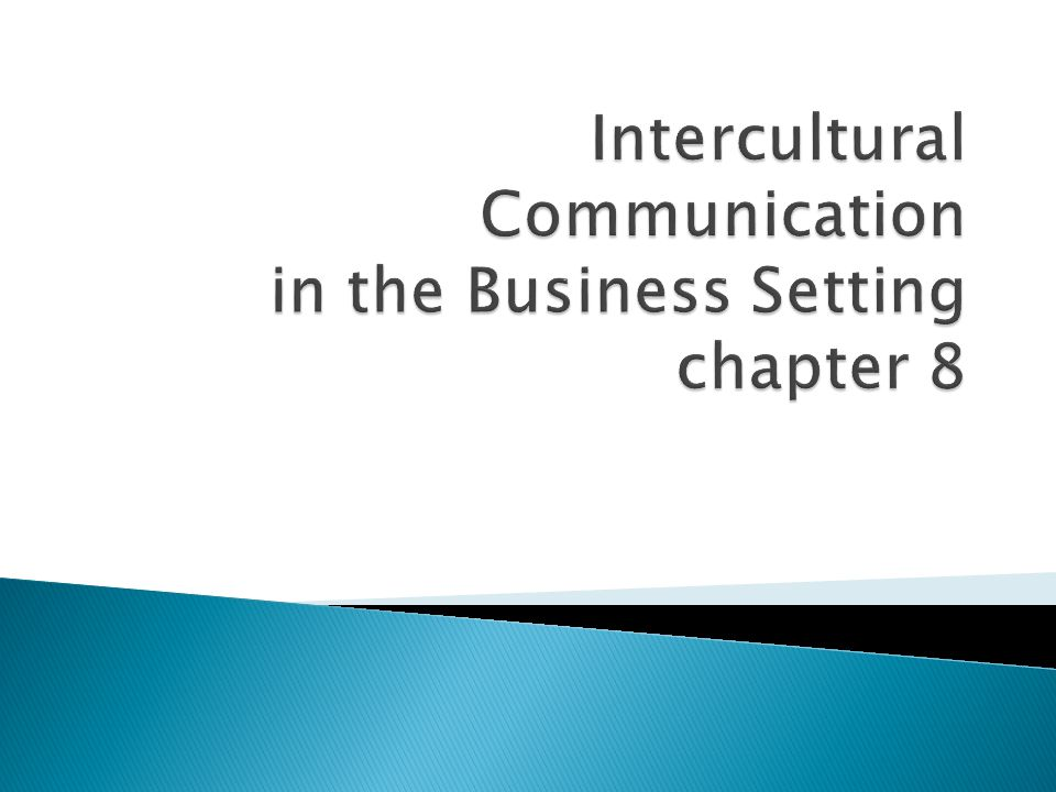 Intercultural Communication in the Business Setting chapter 8