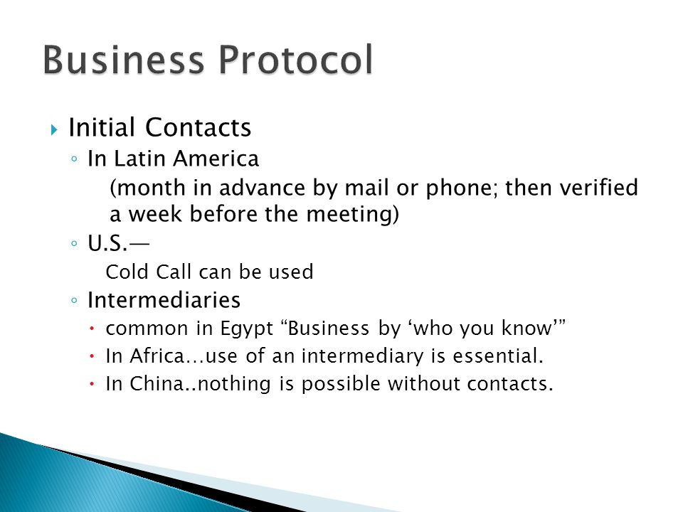 Business Protocol Initial Contacts In Latin America