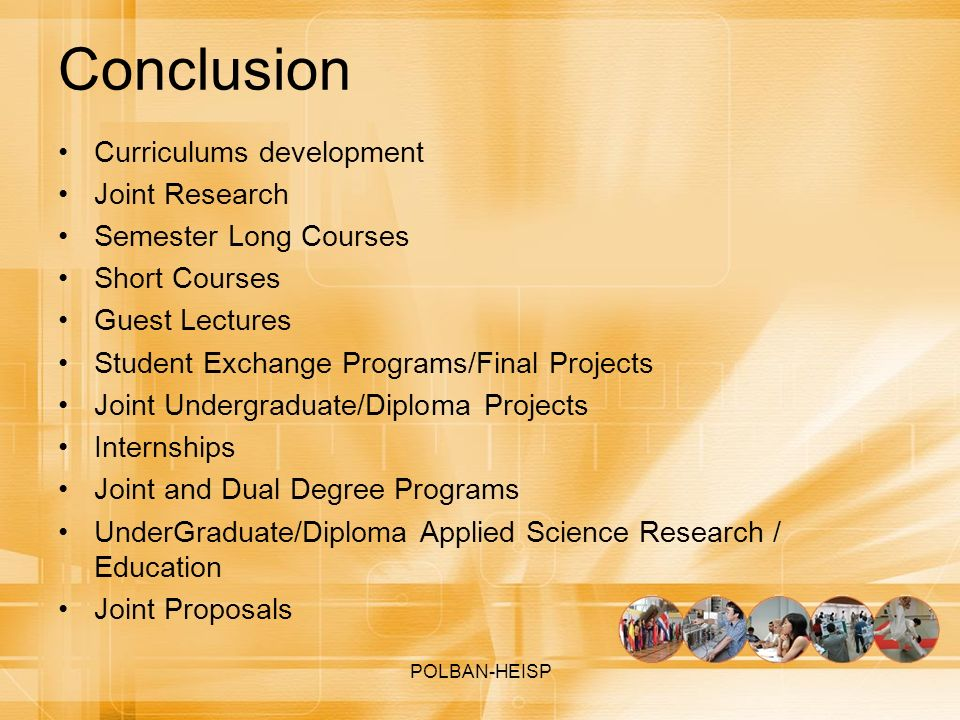 Conclusion Curriculums development Joint Research