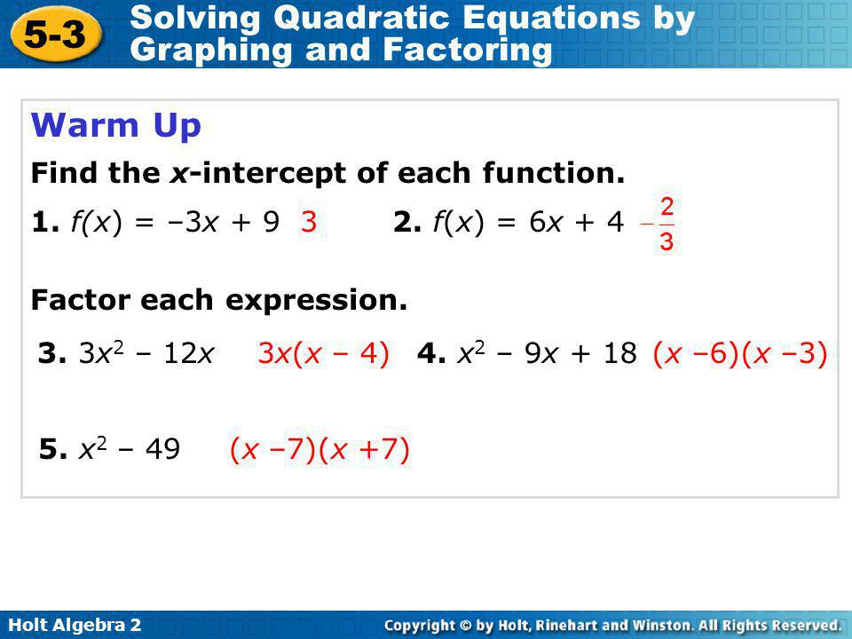 5 3 Solving Quadratic Equations By Graphing And Factoring Warm Up