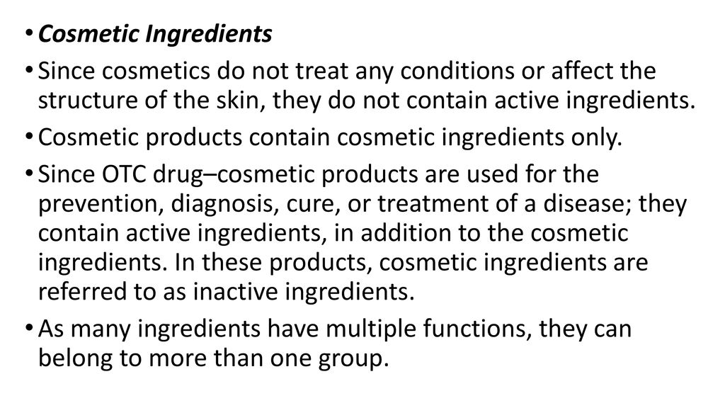 Major Ingredients Used in Cosmetic Products - ppt download