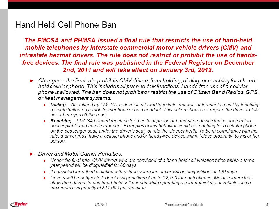 Hand Held Cell Phone Ban