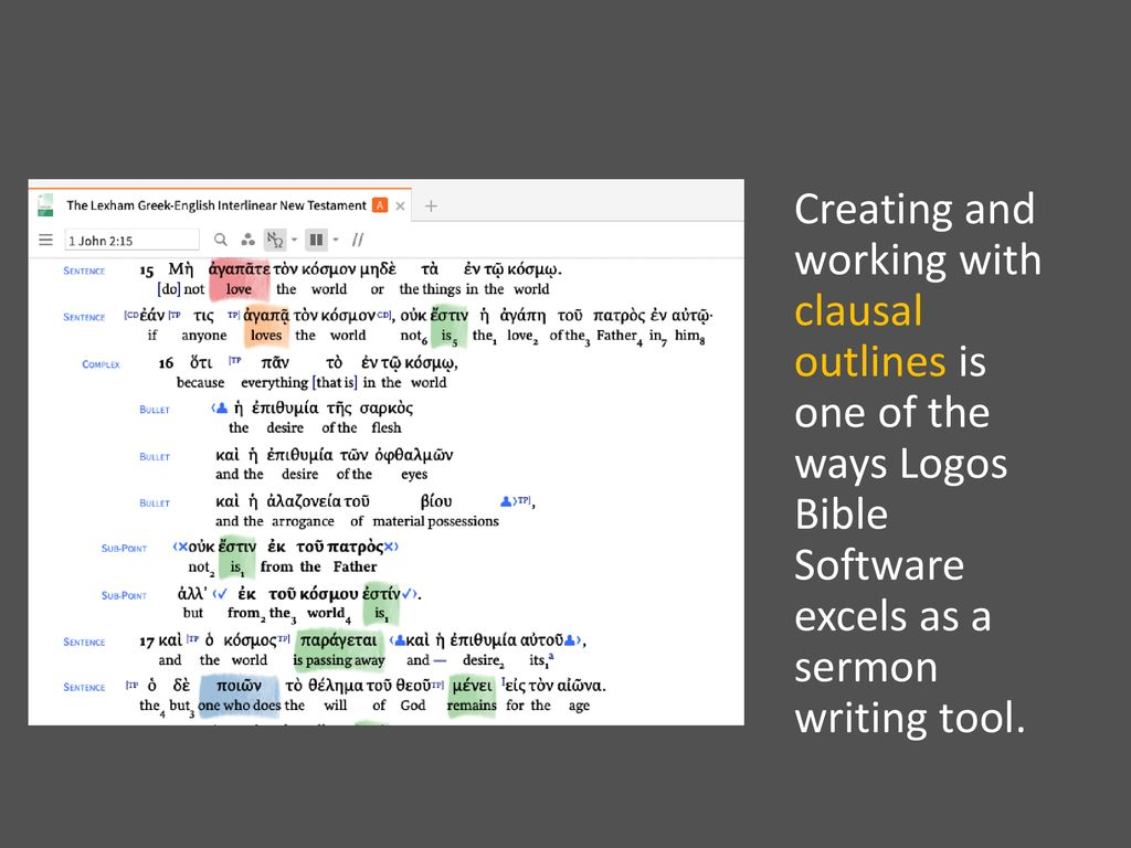Logos Tools for Creating Text-Driven Sermons Barry McCarty SWBTS