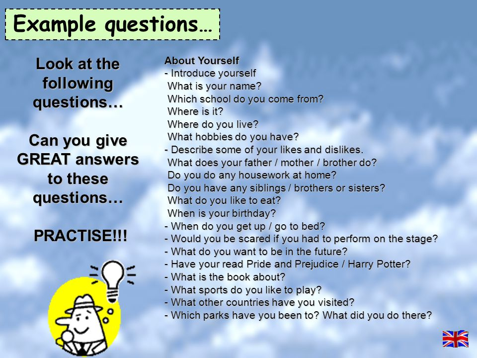 Example questions… Look at the following questions…