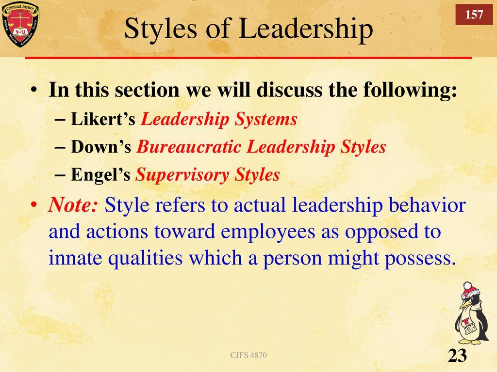 151 Police Leadership Chapter 6 CJFS 4870 Spring 2019 CJFS