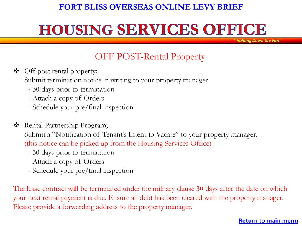 FORT BLISS OVERSEAS ONLINE LEVY BRIEF - ppt download