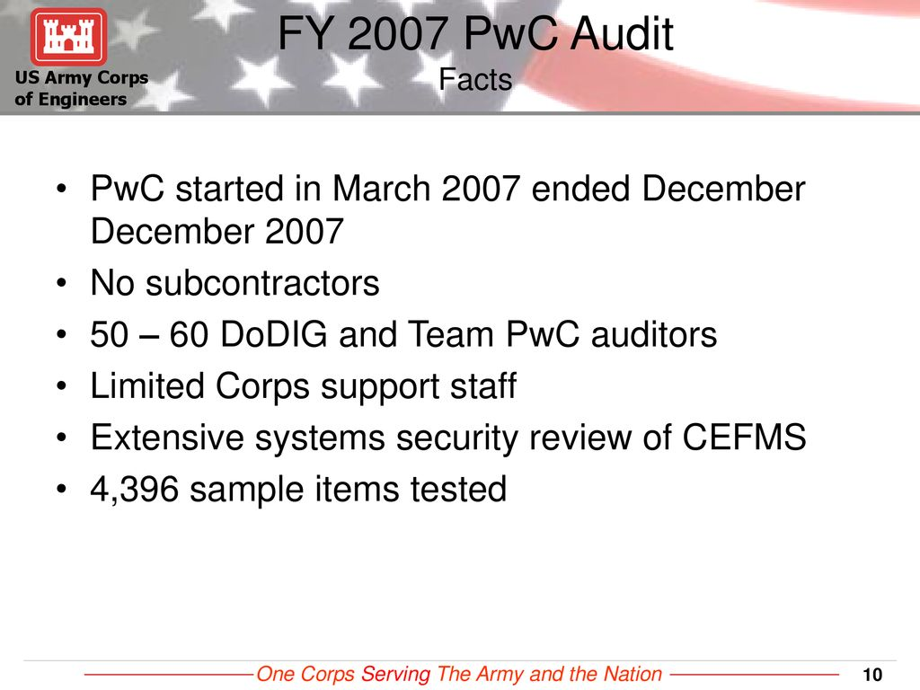 US Army Corps of Engineers Civil Works Audit: Journey to an Opinion