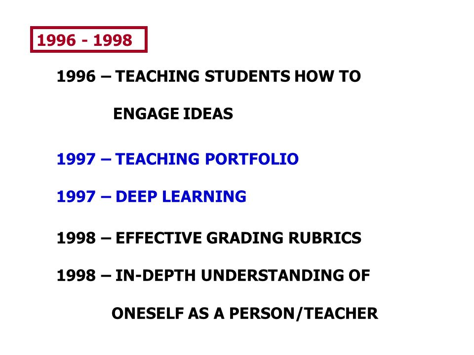 1996 - 1998 1996 – TEACHING STUDENTS HOW TO. ENGAGE IDEAS. 1997 – TEACHING PORTFOLIO. 1997 – DEEP LEARNING.