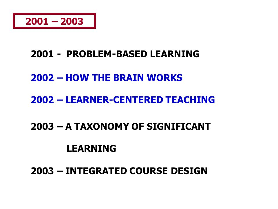 2001 – 2003 2001 - PROBLEM-BASED LEARNING. 2002 – HOW THE BRAIN WORKS. 2002 – LEARNER-CENTERED TEACHING.