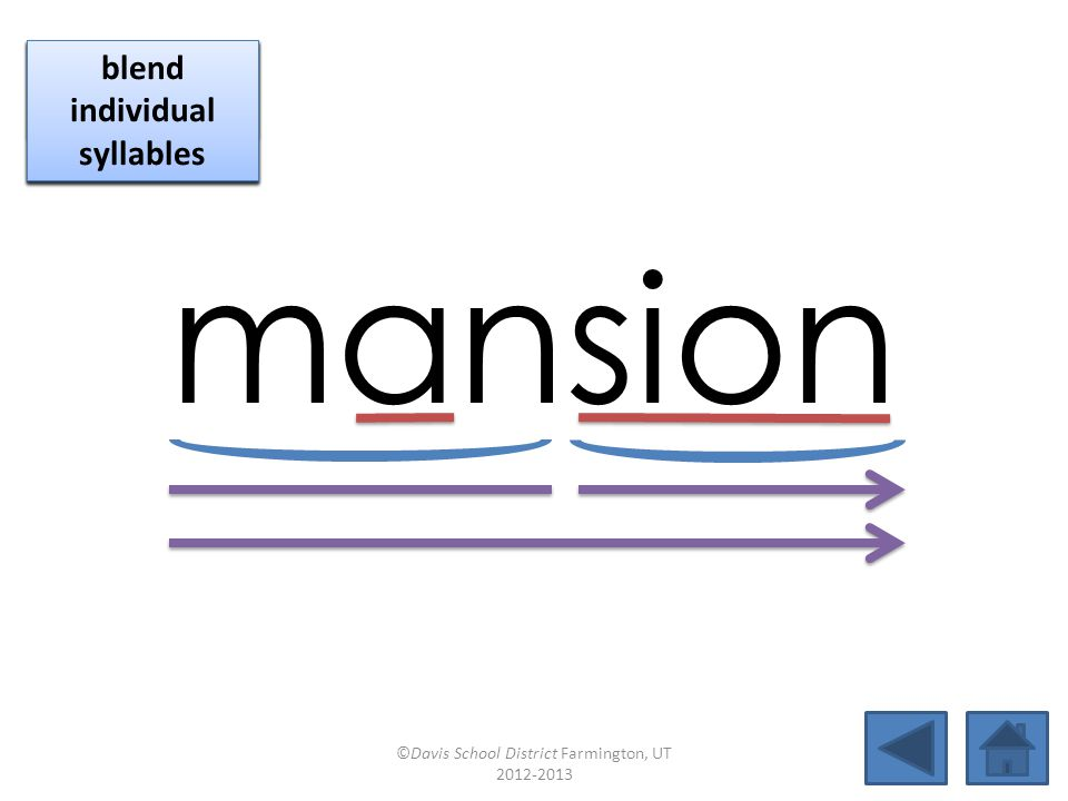 mansion click per vowel blend individual syllables