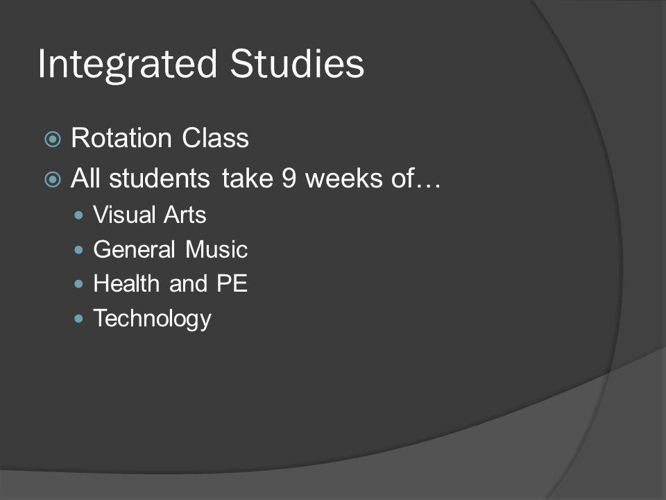 Integrated Studies Rotation Class All students take 9 weeks of…