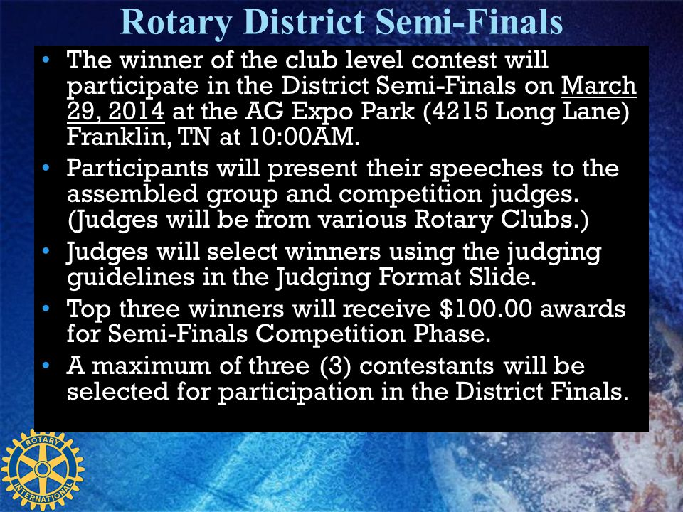 Rotary District Semi-Finals