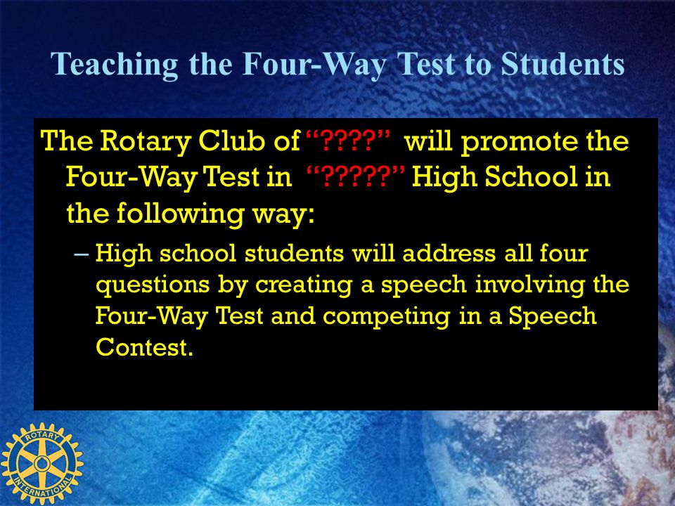 Teaching the Four-Way Test to Students