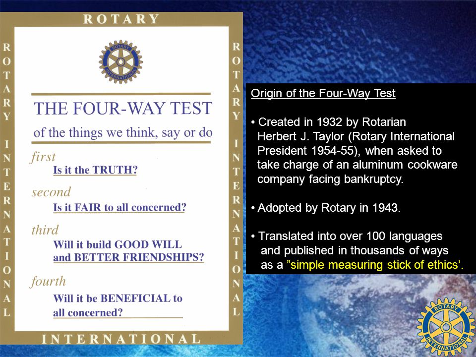 Origin of the Four-Way Test