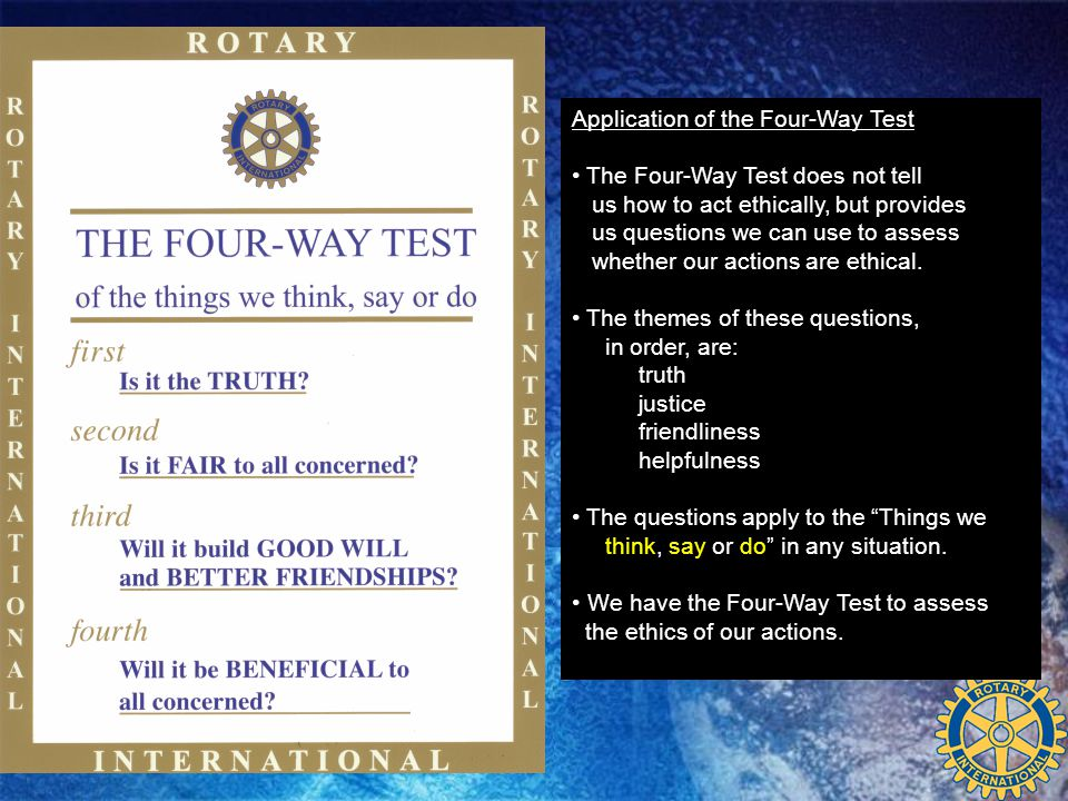 Application of the Four-Way Test