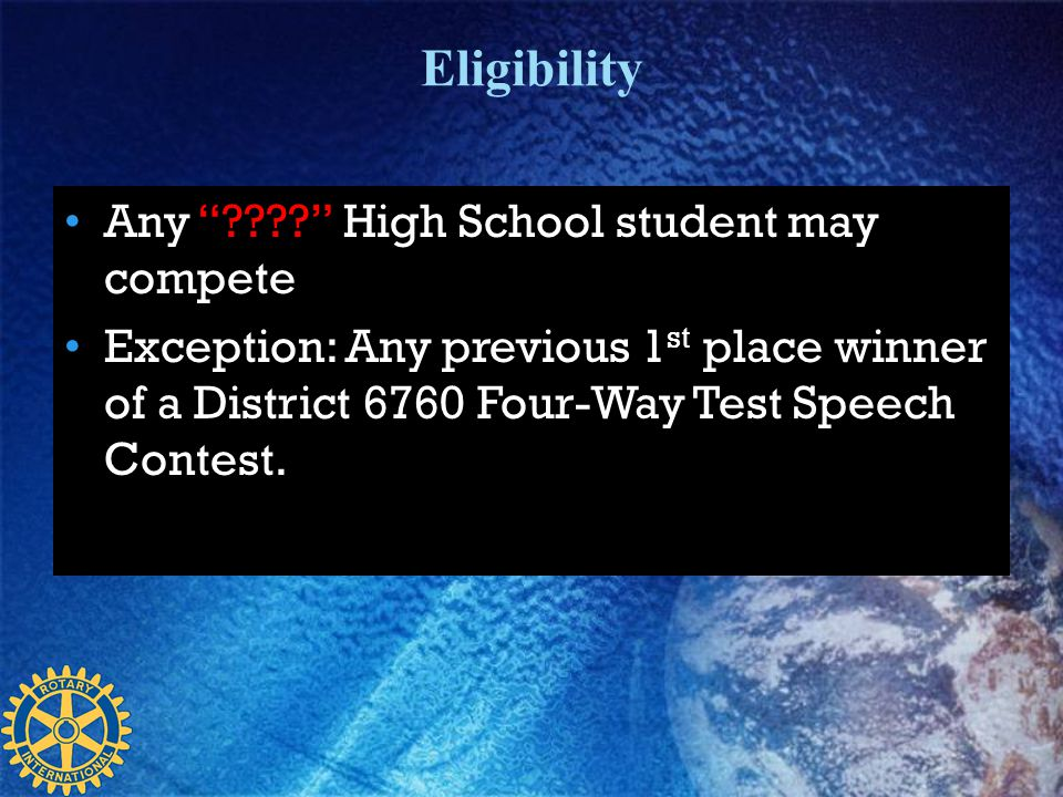 Eligibility Any High School student may compete