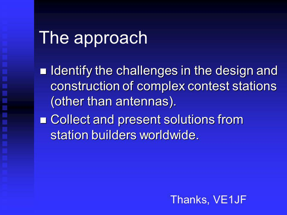 The approach Identify the challenges in the design and construction of complex contest stations (other than antennas).