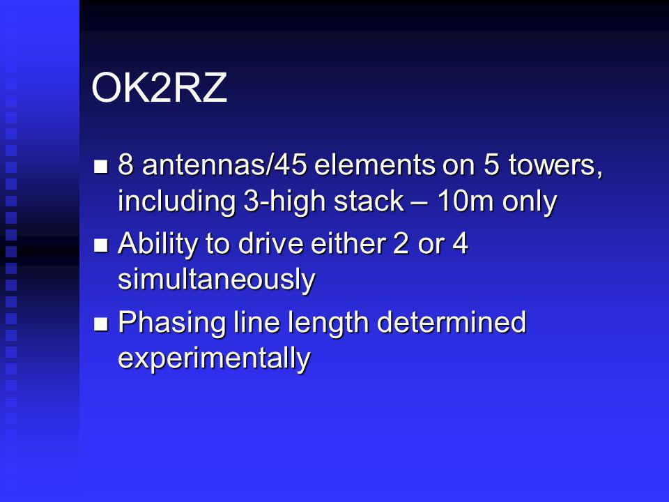 OK2RZ 8 antennas/45 elements on 5 towers, including 3-high stack – 10m only. Ability to drive either 2 or 4 simultaneously.