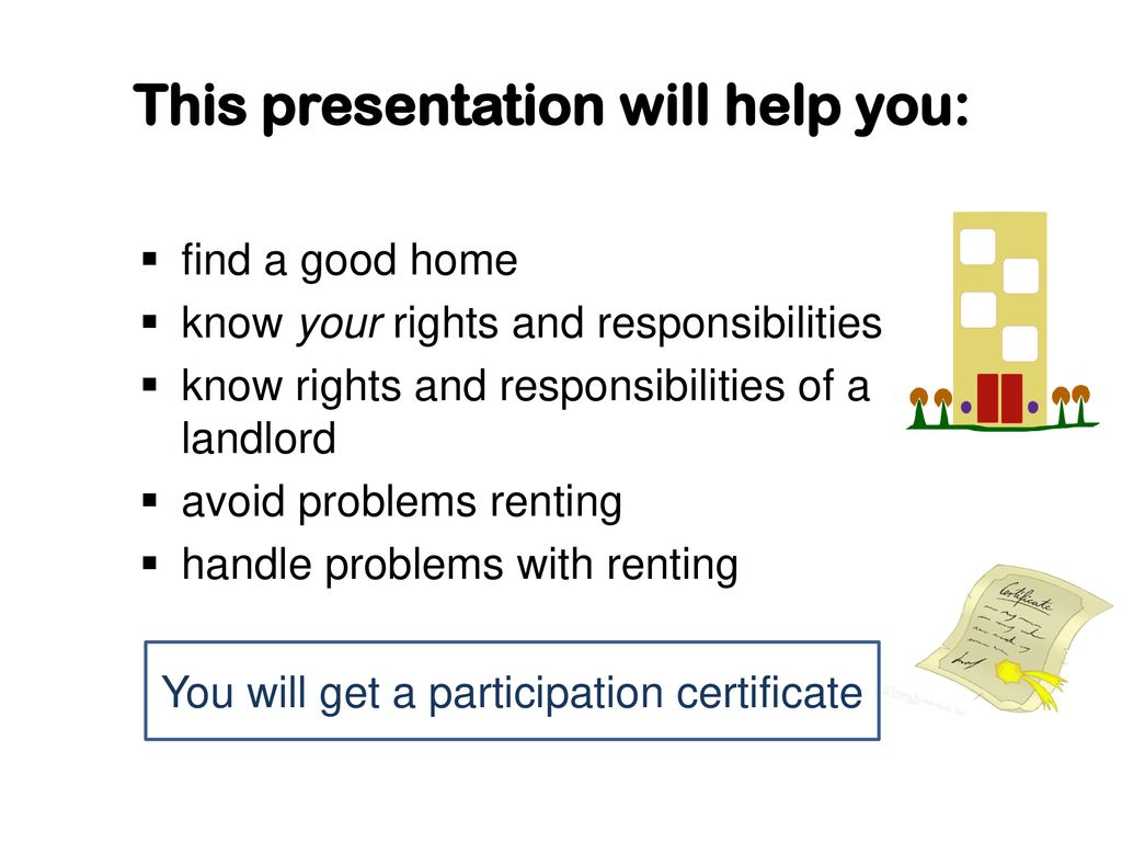 A Place to Call Home Tenant and Landlord Information - ppt