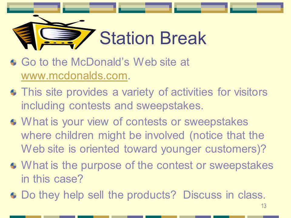 Station Break Go to the McDonald's Web site at