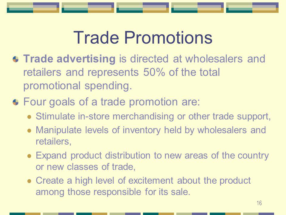 Trade Promotions Trade advertising is directed at wholesalers and retailers and represents 50% of the total promotional spending.