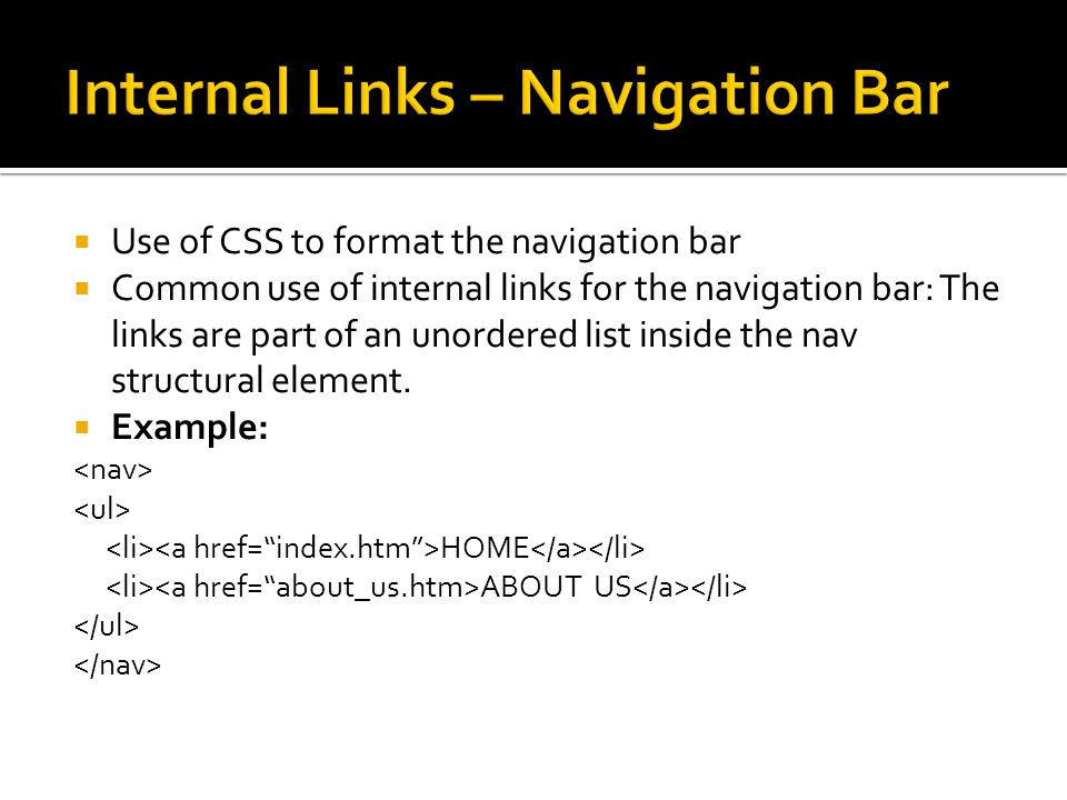 Internal Links – Navigation Bar
