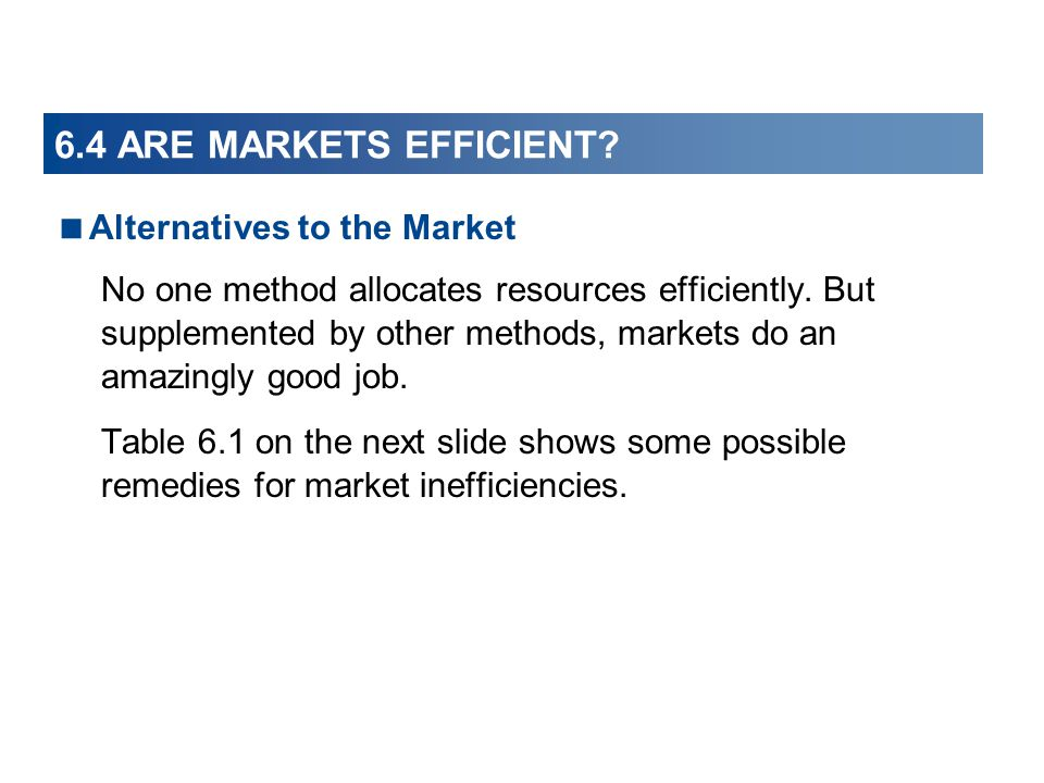 6.4 ARE MARKETS EFFICIENT Alternatives to the Market