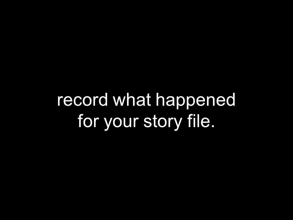 record what happened for your story file.