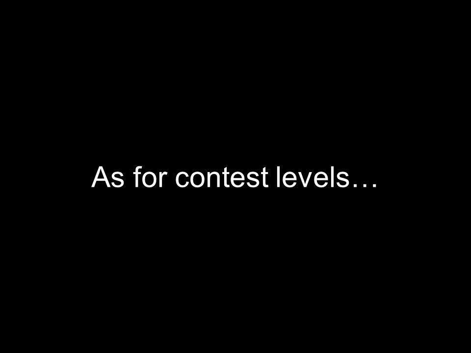 As for contest levels…