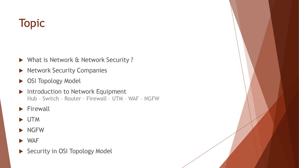 Topic What is Network & Network Security ? Network Security