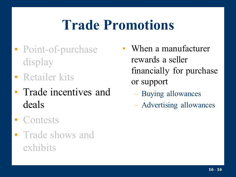 Trade Promotions Point-of-purchase display Retailer kits