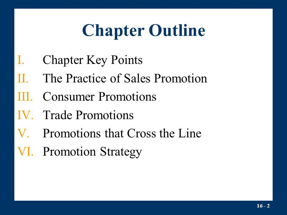 Chapter Outline Chapter Key Points The Practice of Sales Promotion
